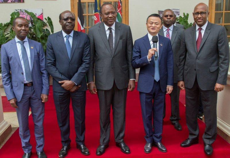 ICT Minister Joe Mucheru, UNCTAD Secretary-General Mukhisa Kituyi, President Uhuru Kenyatta, Alibaba Founder and Chair Jack Ma and Industrialisation Minister Adan Mohamed at State House, Nairobi, Kenya, on 20.07.17.
