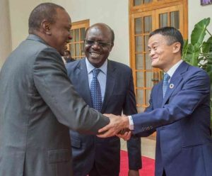 Uhuru Kenyatta, Kenya's President, receives Jack Ma at State House, Nairobi, as Mukhisa Kituyi, UNCTAD's Secretary-General, looks on.