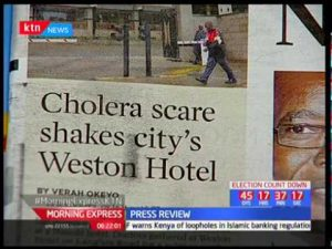 A Kenyan television network reports a cholera outbreak in Kenya's capital, Nairobi.