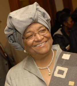 Ellen Johnson - the 24th and current President of Liberia since 2006 and the first elected female head of state in Africa