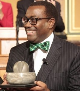 Dr Akinwumi Adesina, winner of the World Food Prize 2017, with his prize.